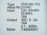 4 LEISTUNGSDATEN DV6-340-7K5 AC-DRIVE