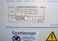 5 TYPENSCHILD CIMR-VMS27P5