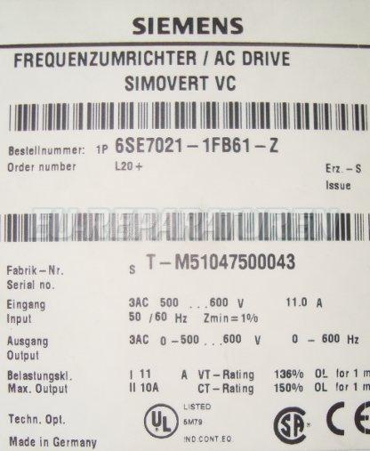 SHOP, Kaufen: SIEMENS 6SE7021-1FB61-Z FREQUENZUMFORMER