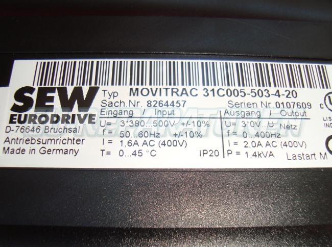 SHOP, Kaufen: SEW EURODRIVE 31C005-503-4-20 FREQUENZUMFORMER
