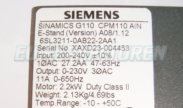 SHOP, Kaufen: SIEMENS 6SL3211-0AB22-2AA FREQUENZUMFORMER