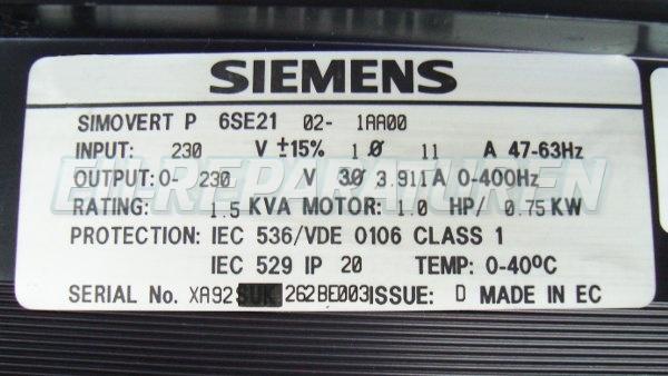 SHOP, Kaufen: SIEMENS 6SE2102-1AA00 FREQUENZUMFORMER
