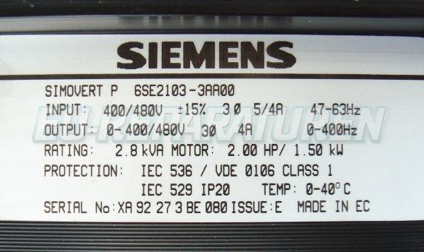 SHOP, Kaufen: SIEMENS 6SE2103-3AA00 FREQUENZUMFORMER