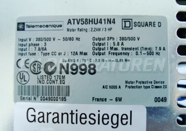 SHOP, Kaufen: TELEMECANIQUE ATV58HU41N4 FREQUENZUMFORMER