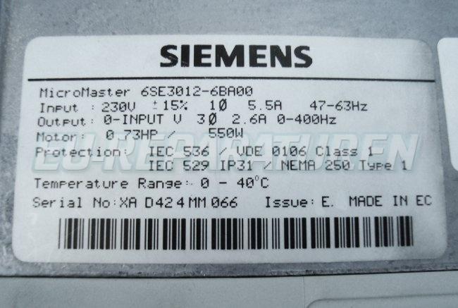 SHOP, Kaufen: SIEMENS 6SE3012-6BA00 FREQUENZUMFORMER