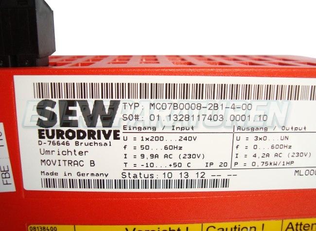 SHOP, Kaufen: SEW EURODRIVE MC07B0008-2B1-4-0 FREQUENZUMFORMER