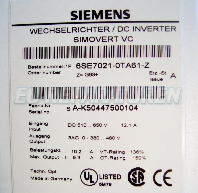 SHOP, Kaufen: SIEMENS 6SE7021-0TA61-Z FREQUENZUMFORMER