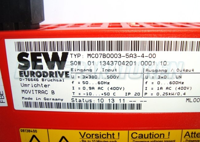 SHOP, Kaufen: SEW EURODRIVE MC07B0003-5A3-4-0 FREQUENZUMFORMER