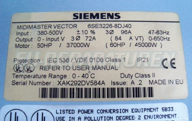 SHOP, Kaufen: SIEMENS 6SE3226-8DJ40 FREQUENZUMFORMER