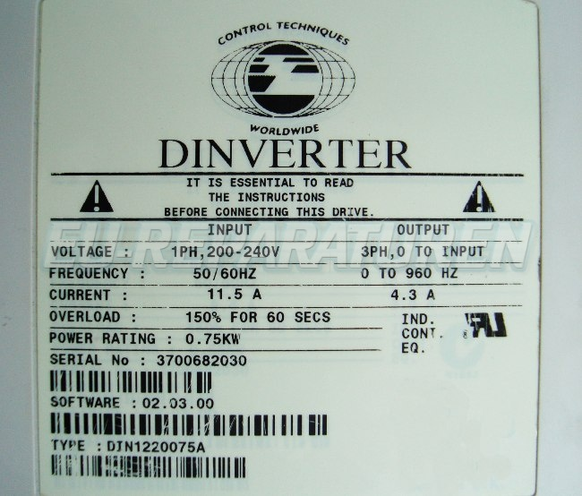 SHOP, Kaufen: CONTROL TECHNIQUES DIN1220075A FREQUENZUMFORMER