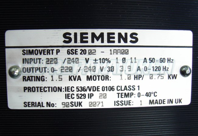 SHOP, Kaufen: SIEMENS 6SE2002-1AA00 FREQUENZUMFORMER