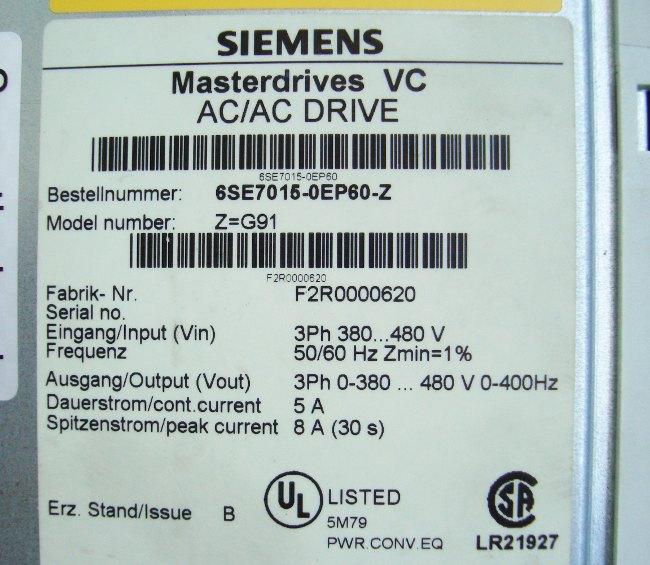 SHOP, Kaufen: SIEMENS 6SE7015-0EP60-Z FREQUENZUMFORMER