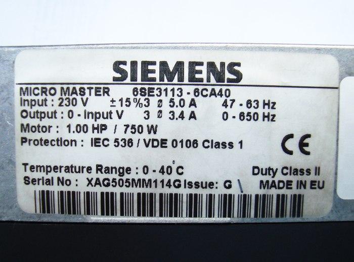 SHOP, Kaufen: SIEMENS 6SE3113-6CA40 FREQUENZUMFORMER
