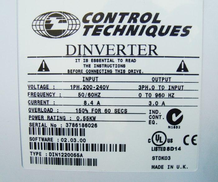 VORSCHAU: CONTROL TECHNIQUES DIN1220055A FREQUENZUMFORMER