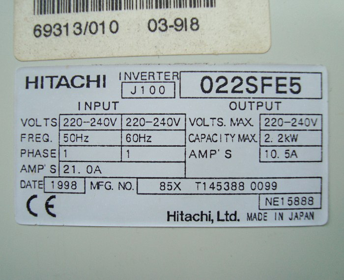 Weiter zum Artikel: HITACHI J100-022SFE5 FREQUENZUMFORMER