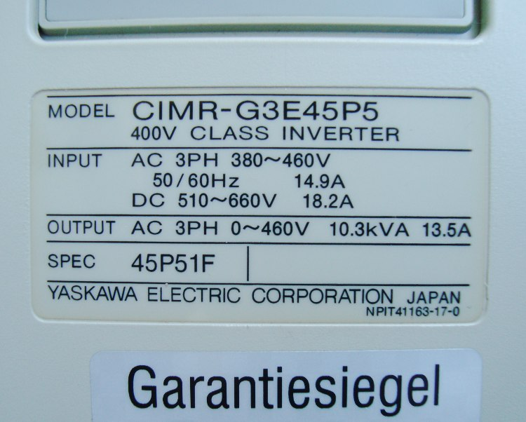 SHOP, Kaufen: YASKAWA CIMR-G3E45P5 FREQUENZUMFORMER
