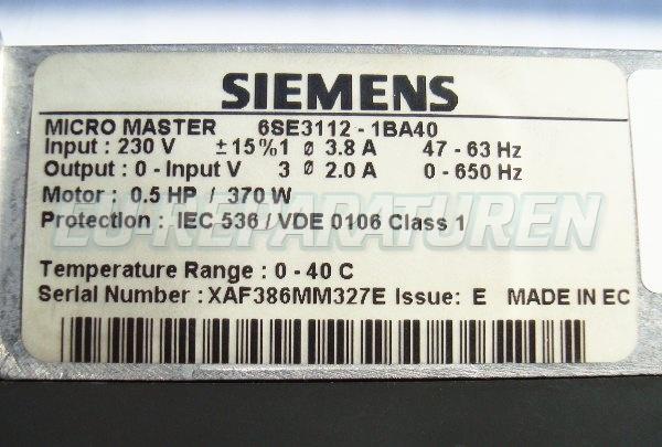 SHOP, Kaufen: SIEMENS 6SE3112-1BA40 FREQUENZUMFORMER