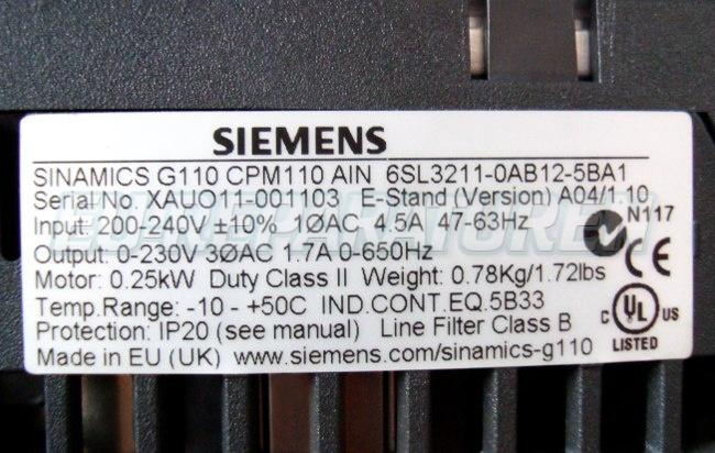 VORSCHAU: SIEMENS 6SL3211-0AB12-5BA1 FREQUENZUMFORMER