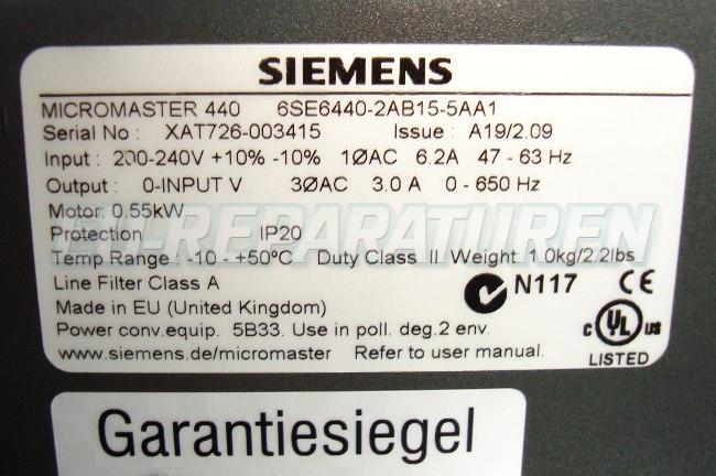 SHOP, Kaufen: SIEMENS 6SE6440-2AB15-5AA FREQUENZUMFORMER