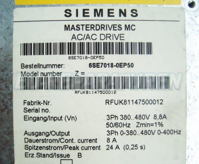 SHOP, Kaufen: SIEMENS 6SE7018-0EP50 FREQUENZUMFORMER