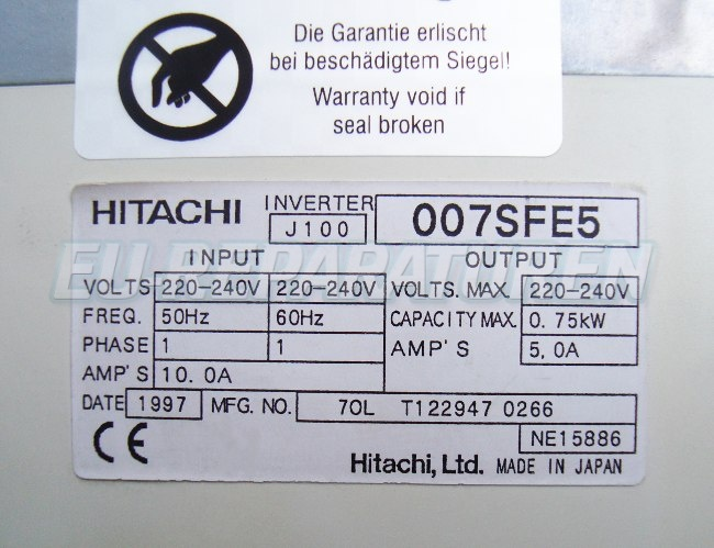VORSCHAU: HITACHI J100-007SFE5 FREQUENZUMFORMER