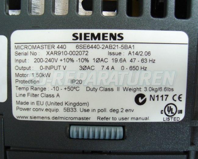 SHOP, Kaufen: SIEMENS 6SE6440-2AB21-5BA FREQUENZUMFORMER