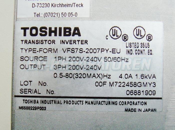 SHOP, Kaufen: TOSHIBA VFS7S-2007PY-EU FREQUENZUMFORMER