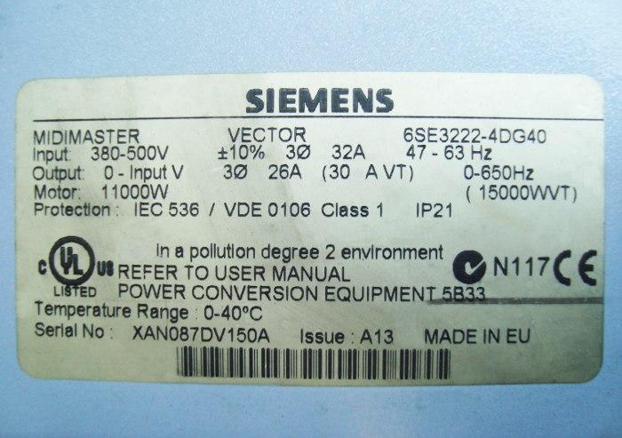 SHOP, Kaufen: SIEMENS 6SE3222-4DG40 FREQUENZUMFORMER