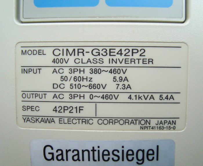 SHOP, Kaufen: YASKAWA CIMR-G3E42P2 FREQUENZUMFORMER