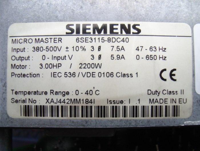 SHOP, Kaufen: SIEMENS 6SE3115-8DC40 FREQUENZUMFORMER