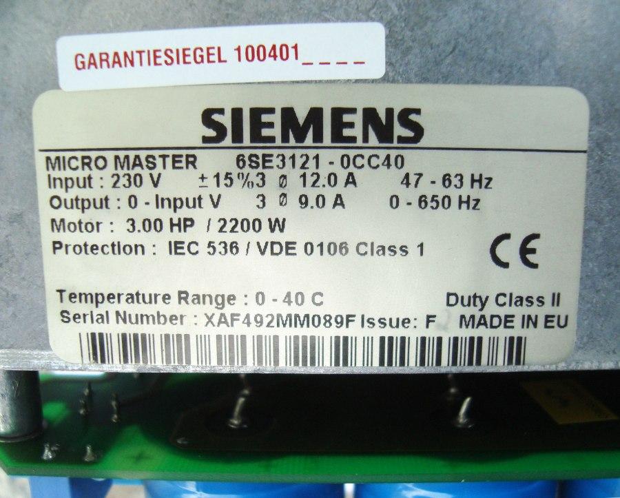 SHOP, Kaufen: SIEMENS 6SE3121-0CC40 FREQUENZUMFORMER